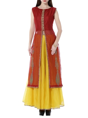 Kaanchie Nanggia Red and yellow chanderi long jacket and skirt set