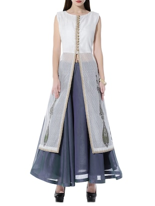 Kaanchie Nanggia White and blue chanderi long jacket and skirt set