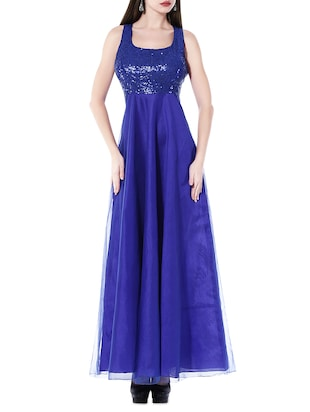 Kaanchie Nanggia Royal blue sequined dupion gown