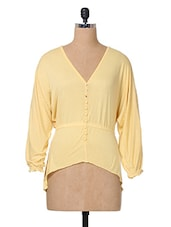 Yellow Plain Solid Cotton Top - The Vanca