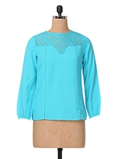 Blue Full Sleeve Polycrepe & Lace Top - The Vanca