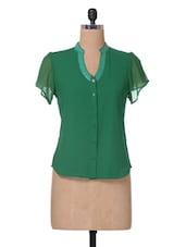 Green Sequined Georgette Top - The Vanca