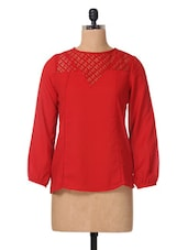 Red Full Sleeve Polycrepe & Lace Top - The Vanca