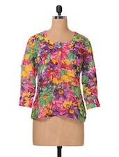 Multicolor Floral Printed Georgette Top - The Vanca