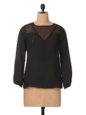 Black Plain Solid Polycrepe & Lace Top - The Vanca