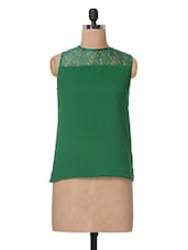 Green Round Neck Polyeste & Lace Top - The Vanca