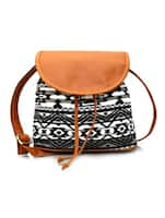 black, white, brown canvas, leatherette sling bag -  online shopping for sling bags