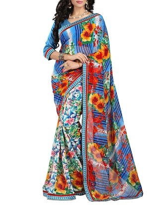 multi colored chiffon printed saree