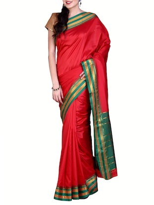 red mysore art silk saree