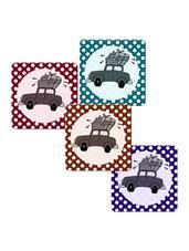"""Car With Luggage"" Printed Mdf Coaster Set - Shopkeeda"