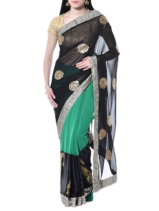 Black and green embroidered georgette saree