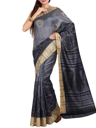 grey synthetic bhagalpuri silk saree