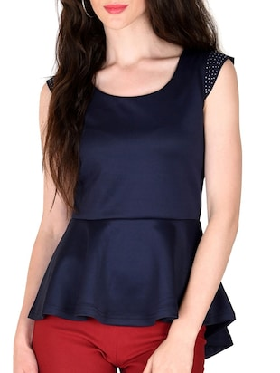 navy blue poly cotton top