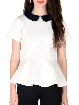 white poly cotton top