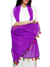 Violet Georgette Duppata With Multicolor Pom Pom Border - By