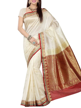 off white & red art silk saree