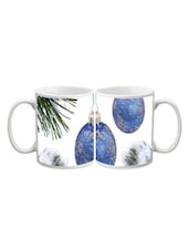 Blue Hanging Christmas Balls Printed Mug - Start Ur Day