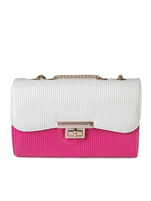 White & pink textured leatherette color block sling bag
