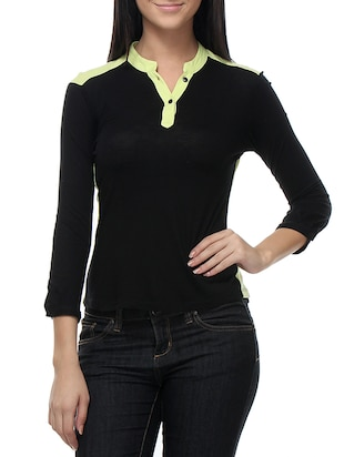 black , yellow viscose top