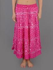 Pink Embellished Bandhani Long Skirt - Rajasthani Sarees