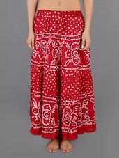 Red Cotton Embellished Long Skirt - Rajasthani Sarees