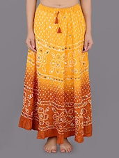 Bandhej Printed Cotton Festive Long Skirt - Rajasthani Sarees