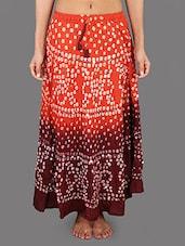 Orange & Maroon Cotton Bandhej Long Skirt - Rajasthani Sarees