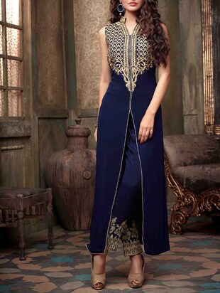 blue Georgette  semistitched suit set -  online shopping for Dress Material