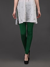 Dark Green Plain Cotton Lycra Leggings - Concepts