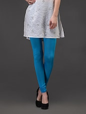 Turquoise Blue Plain Cotton Lycra Leggings - Concepts