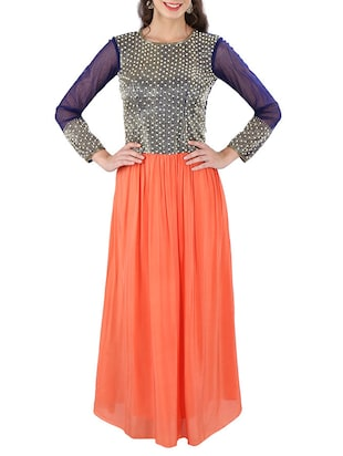 multi net and viscose crepe aline lehenga