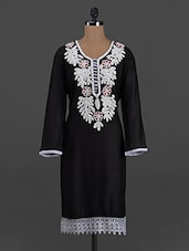 Black Rayon Embroidered Kurta - Concepts