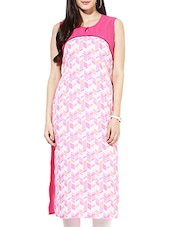 Pink Poly Crepe Long  Kurta - By