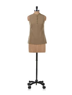 Brown Top With Buttons - Kaxiaa