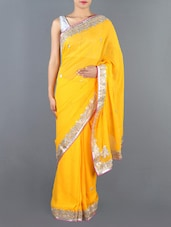 Yellow Embellished Pure Georgette Saree - Siya