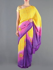 Yellow And Purple Crepe Silk Saree - Siya
