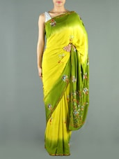 Yellow And Green Crepe Saree - Siya