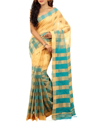 beige and blue cotton silk handloom saree -  online shopping for Sarees
