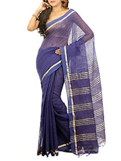 Blue cotton silk handloom saree -  online shopping for Sarees