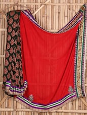 Red And Green Pure Georgette Saree - Siya