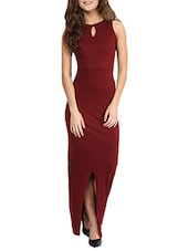 maroon cotton jersey prom  and gowns dress -  online shopping for Dresses