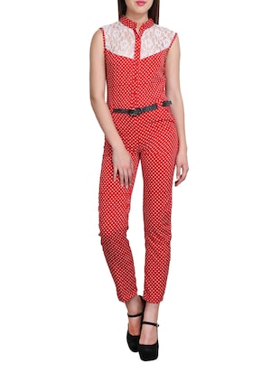 red, white crepe jumpsuit