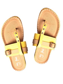 yellow leatherette  sandals