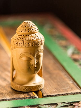 Handmade Wooden Carved Buddha Showpiece