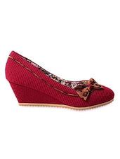 Red Leatherette Textured Wedges - My Foot