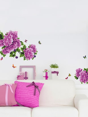 Wall Stickers Flowers Purple Antique Peony Sofa Backdrop Living Room Art Vinyl