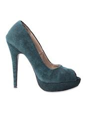 Green Leatherette Peeptoe Heels - My Foot