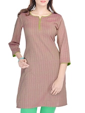 Brown Cotton Regular Kurta - By