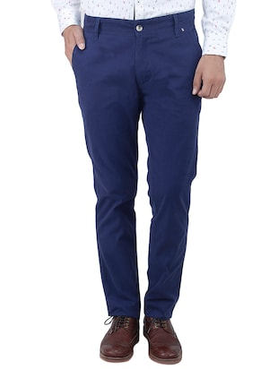 blue colored, Cotton casual trouser