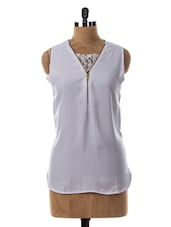 Sleeveless White Lace Inspired Top - Miss Chase